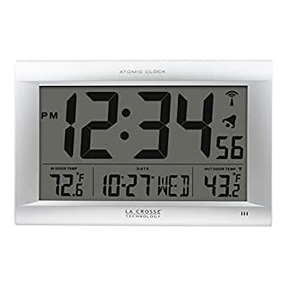 La Crosse Technology 513-1311OT Jumbo Atomic Digital Wall Clock with Out Temperature, Silver (B00E2FK5X6) | Amazon price tracker / tracking, Amazon price history charts, Amazon price watches, Amazon price drop alerts