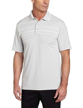PGA TOUR Men's Short Sleeve Rope Argyle Engineer Print Stripe Polo Shirt, Micro Chip, Large