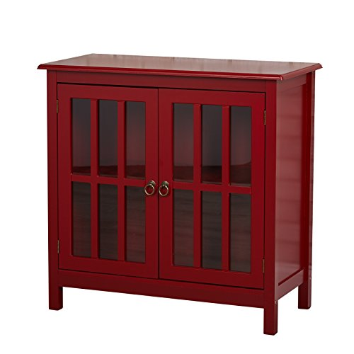 - Contemporary Portland Glass Two-Door Cabinet MDF, Metal, Wood Material Painted Finish (Red)