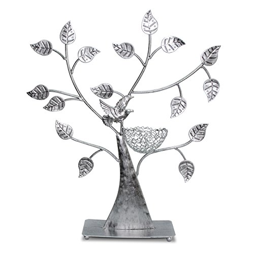VENKON - Design Schmuckbaum Ohrringhalter Schmuck Organizer Schmuckständer Ringhalter - Farbe: Silber - 43 x 38cm -