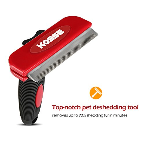Professional Pet Deshedding Tool with Fur Ejector, Kosse Grooming Brush Effectively Reduces Shedding by up to 90%, Grooming Comb for Cats and Dogs (Medium) by Kosse (Image #1)