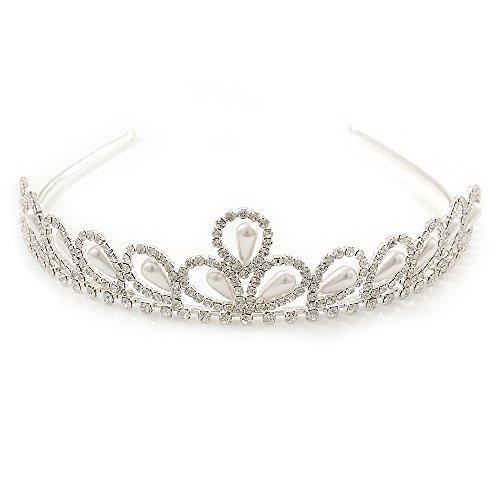 Bridal/ Wedding/ Prom Rhodium Plated Faux Pearl, Crystal Classic Tiara ()