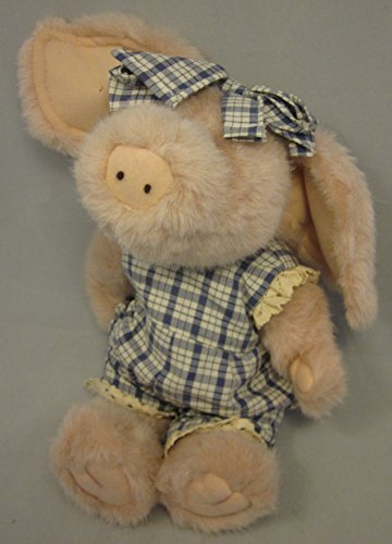 """Boyd's Bear & Friends Stuffed Pig Primrose Blue Plaid Outfit Plush 13"""" Jointed -  0715191"""