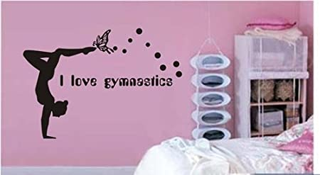 Amazon Large--Easy instant decoration wall sticker wall mural Gym-I love Gymnastics (an009) Home & Kitchen