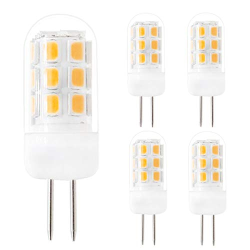 Dimmable G4 LED Bulbs, G4 Bi-Pin Base Bulbs, AC 120V G4 3.5W Warm White 3000K 320Lumen, Replace 35W G4 Halogen, for Under-Cabinet Lights, Ceiling Lights, Table Lights, Puck Lights(Pack of 5) ()