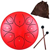 6 Inch Steel Tongue Drum 8 Notes Highest Quality Natural G Major Hang Drum Instrument Padded Travel Bag and Mallets Included Yoga Meditation Music Therapy Lotus Tongue Red