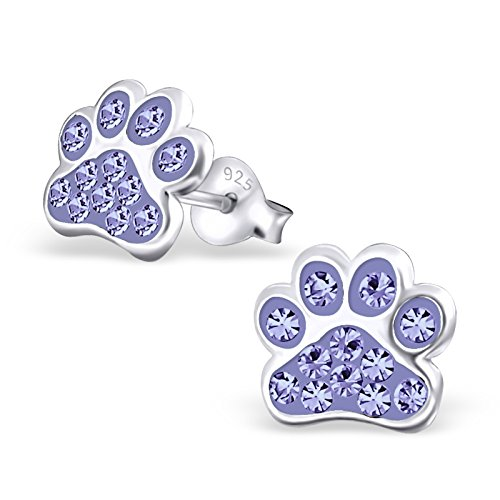 925 Sterling Silver Hypoallergenic Violet Purple Crystal Paw Print Stud Earrings for Girls 18872