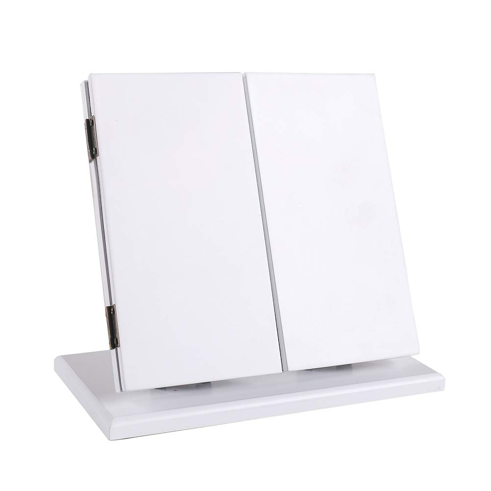 KEDLAN Glass Makeup Mirror Foldable Desktop Vanity Mirror with Adjustable Angle Panel Vanity Mirror White