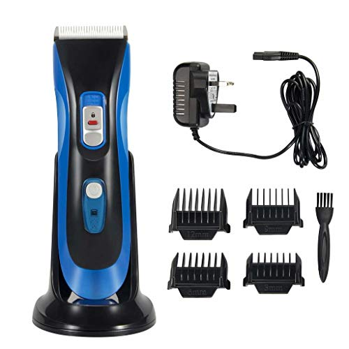 Hair Clipper Cordless Rechargeable Haircut Hair Trimmer Kit with 4 Guide Combs and Charging Base For Men Kids Adults - Double Voltage Blue