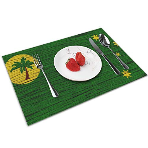 - NBteach Flag of Cocos Islands Wooden Texture 4 Piece Set of Placemats Pc Party Decor Dining Room Home Ornament Table Place Mat Patio Xmas Holidays Kitchen Decorations Themed Print Pattern