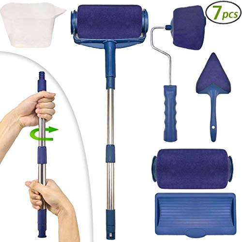 Wide Rollers 2 - Paint Roller Brush Kit,Moidee Multifunctional House Paint Rollers Set with 2 Paint Runner Pro,Wall Printing Brush Applicator,New Rod for House,School Office Painting(7 Pcs) (Blue Roller)