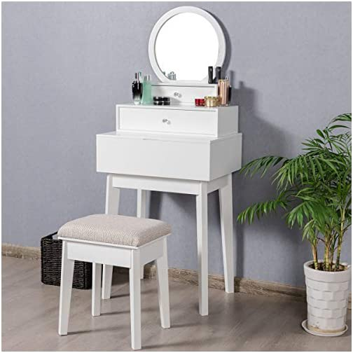 CHARMAID 2-in-1 Vanity Mirror with 2 Removable Drawers, Vanity Mirror Wall Mount or Placed on Table Top, Round Makeup…