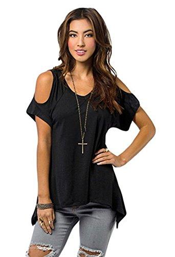 Relipop Women Hollow Out Casual Shirt Short Sleeve Off Shoulder Tunic Tops Relipop