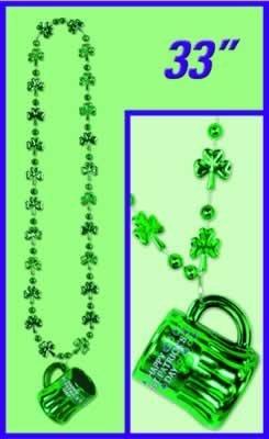Beistle Party Decoration Shamrock Beads with Happy St Pat's Mug 33