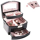 PENGKE 3 Layer Jewelry Box for Women,Makeup and Jewelry Holder Organizer with Lock,Black Pack of 1