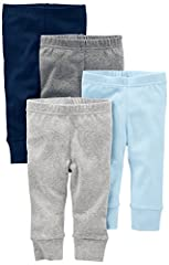 Four pairs of soft pants in mixed colors to pull on and off in a jiffy thanks to covered elasticized waistbands.