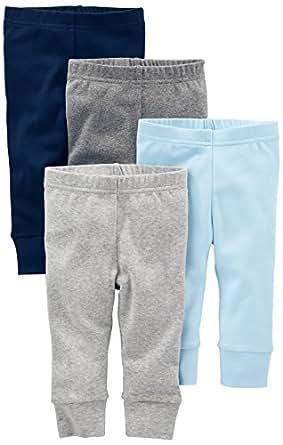 Simple Joys by Carter's Baby - Pantalón para niño (4 Unidades), Azul/Gris, 0-3 Months