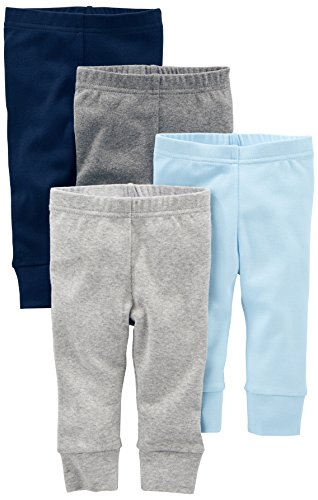 Simple Joys by Carter's Baby Boys 4-Pack Pant, Blue/Grey, Newborn