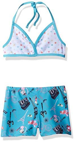 Jelly The Pug Big Girls' Amelia Bikini with Shorts, Multi, 7