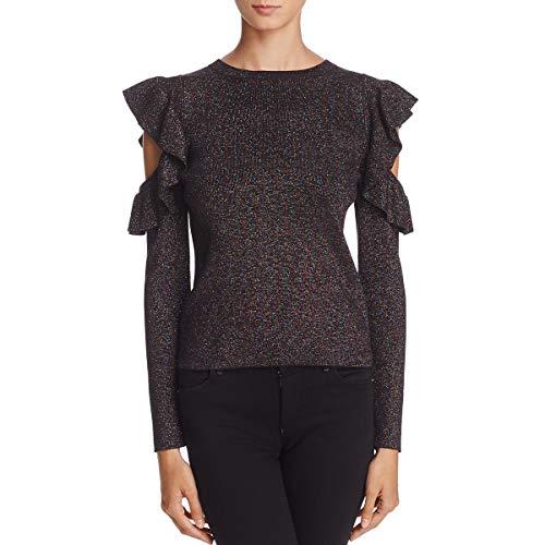 Nylon Metallic Sweater (Sunset & Spring Womens Metallic Cold Shoulder Pullover Sweater Black S)