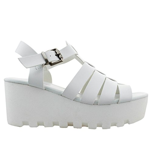 Women NEW Ankle Strap Sandal Wedge Created Sole High Heel Peep Toe Platform Shoe Trends SNJ Shoes White ECcjf8y8e