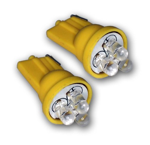 TuningPros LEDFSM-T10-Y3 Front Side Marker LED Light Bulbs T10 Wedge, 3 LED Yellow 2-pc ()