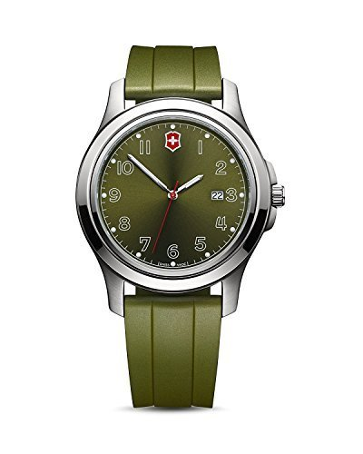 Victorinox Swiss Army Garrison Date Watch Military Green Dial and Rubber Sport Strap 26069.CB