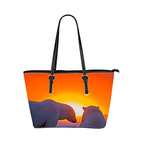Leather Tote Bag for Women, Bear Women Handbags PU Leather Tote Shoulder Bags, Two-sided Printing, Large