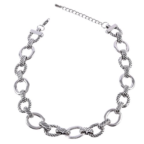 Silver Tone Chain Link Necklace (Silver Tone Textured Oval Link Necklace)