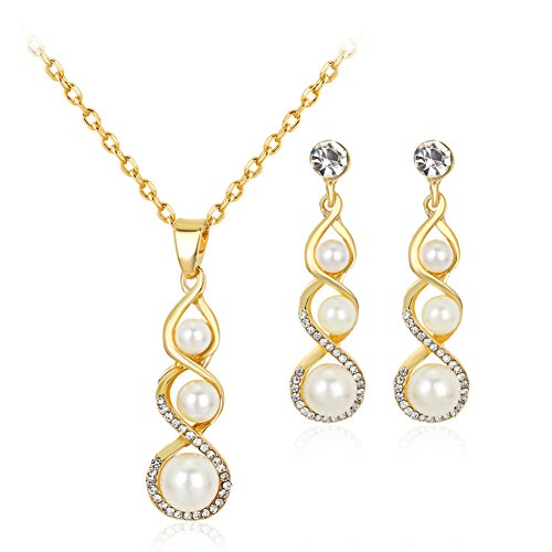 Hbinydepial Bridal Rhinestone Hollow Twist Faux Pearl Dangle Earrings Necklace Jewelry Set