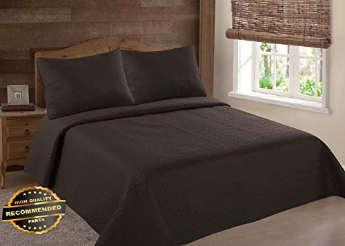 Werrox Midwest Brown NENA Solid Quilt Bedding Bedspread Coverlet Pillow Cases Set Full Size | Quilt Style -
