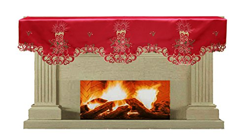 Creative Linens Holiday Christmas Embroidered Poinsettia Candle Bell Mantel Scarf 19x70 RED Gold (Christmas Mantel Scarf)