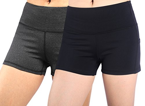 (Neonysweets Womens Yoga Short Pants Exercise Workout Running Shorts Black/Gray 2 Pack M)