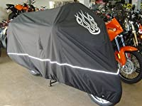 """Premium High Quality Motorcycle Cover, Fits up to 108"""" length Large cruiser, Tourer, Chopper. includes Cable & Lock - Flame Logo"""
