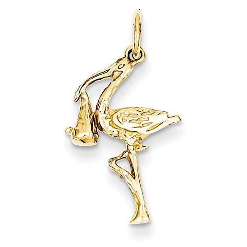 14k Yellow Gold Solid 3-Dimensional Stork Pendant. Metal Wt- 1.05g