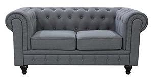 US Pride Furniture S5070 L Linen Fabric Chesterfield Sofa Set, Grey