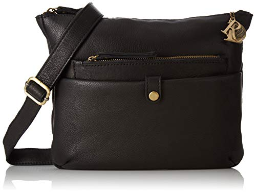 Tresori Women's Real Leather Cross over Bag with Front Zip One Size Black ()