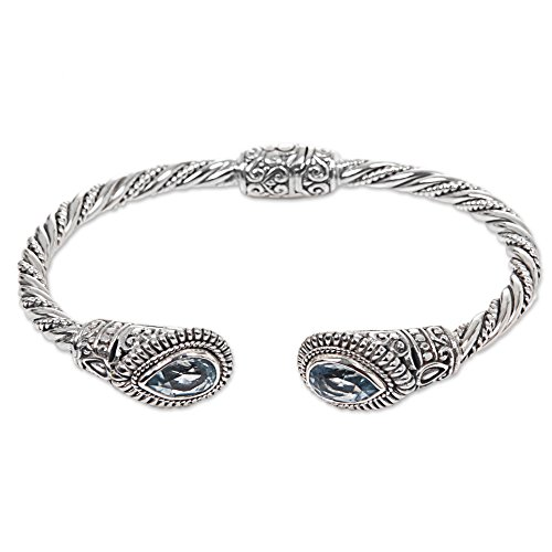 NOVICA Faceted Blue Topaz .925 Sterling Silver Hinged Cuff Bracelet 'Bright -