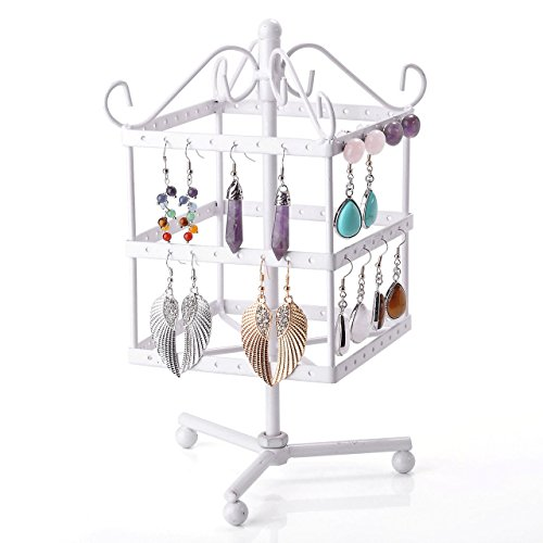 CozyCabin Vintage 96 Holes Three-layer Earring Holder Hanger Square Jewelry Rotating Rack Earring Stand Organizer Jewelry Displayer (White) (Iron Jewelry Vintage Holder)