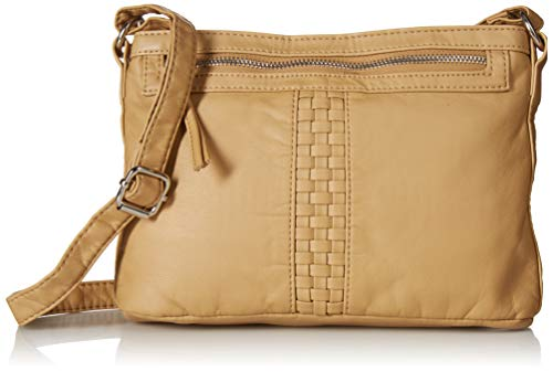 - Bueno of California Faux Leather Washed Woven Crossbody, Light Camel