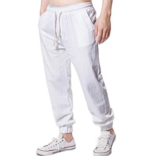 (Mens Solid Multiple Colour Linen Classic Elastic Soft Casual Loose Long Pants White)