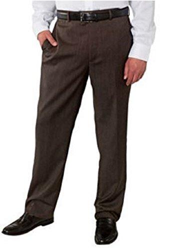 Kirkland Signature Men's Wool Gabardine Flat Front Dress Slack Pant, Brown 644, Size -