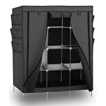 "OxGord 69"" Portable Closet Storage Organizer Clothes Wardrobe with Shoe Rack Shelves - Gray"