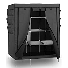 """Portable Storage Organizer Wardrobe Closet & Shoe Rack, Gray, 13 Shelves with Sturdy, Rust-Proof Stainless Steel Frame- 9 Side Pockets for Garment, shoes, Accessories