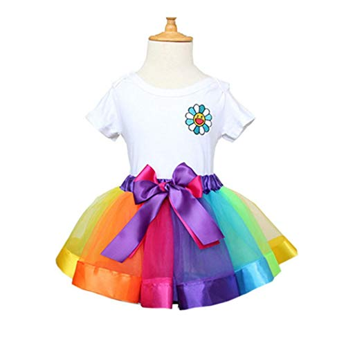 Caiuet Tulle Rainbow Ribbon Tutu Skirt for Toddler Baby Girls Dress Ballet Tiered