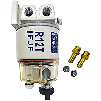 KIPA R12T Fuel Filter Water Separator 120AT NPT ZG1//4-19 with Fitting Complete Combo Filter For Automotive Racor R12T 10 Micron Marine Diesel Engine 3//8 Inch NPT Outboard Motor Durable Spin-on Housing