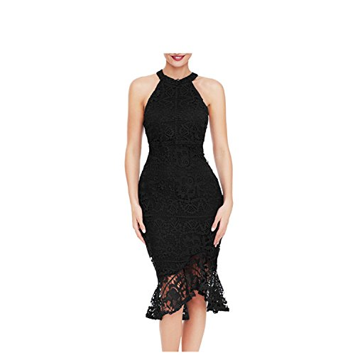 Destjoy Blouses Sexy Ladies Elegant Sleeveless Fishtail Vintage Bodycon Dress Robe Dentelle LC61737 Black S