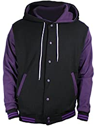 U World Men's Hoodie Cotton Varsity Baseball Jacket Purple