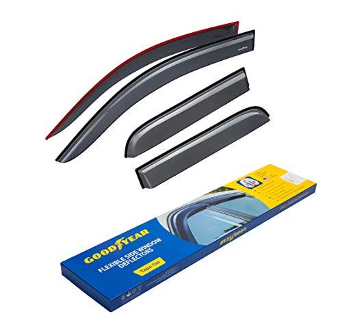 Goodyear Shatterproof Side Window Deflectors for Trucks Chevrolet (Chevy) Silverado/GMC Sierra 2014-2018 Double Cab, Tape-on Rain Guards, Vent Window Visors, 4 Pieces - GY003104