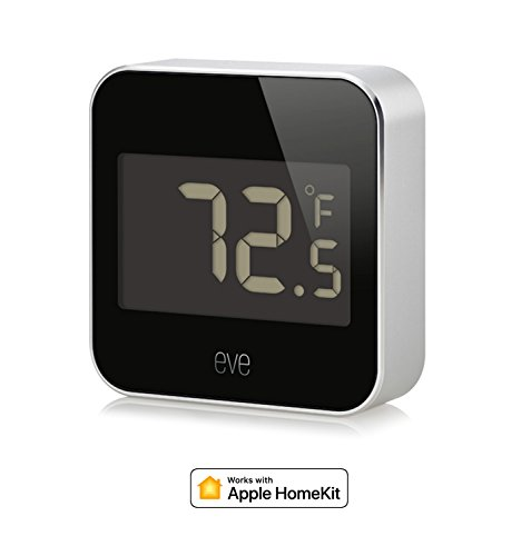 Eve Degree - Connected Weather Station for tracking temperature, humidity & air pressure; IPX3 water resistance, display, no bridge necessary, Bluetooth (Apple HomeKit)
